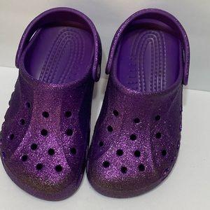 Purple Glitter J4 Girls Crocs